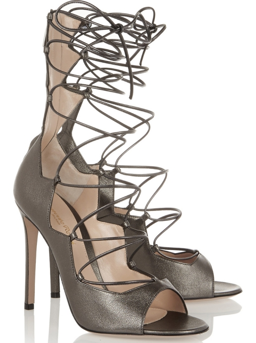 GIANVITO-ROSSI-Metallic-leather-lace-up-sandals